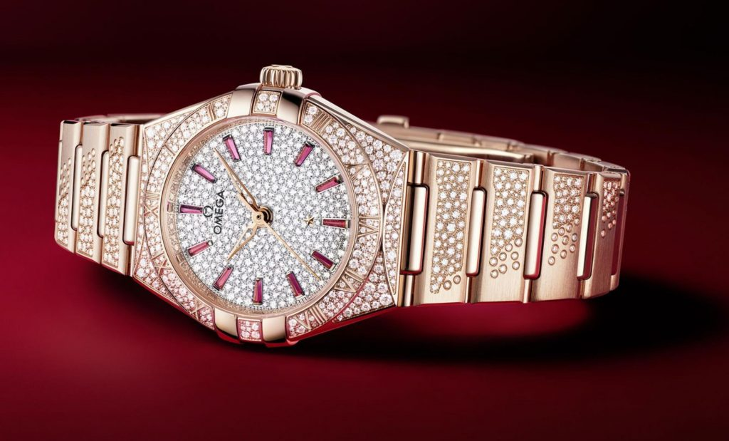 The luxury fake watch is decorated with diamonds.