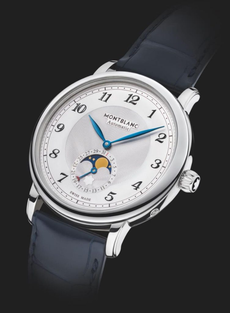 The 42mm replica watch has a moon phase.