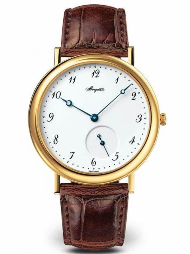 The 18k gold fake watch has a white dial.